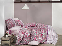 Качественный евро комплект постельного белья ТМ Nazenin Home, ранфорс VIOLET-PEMBE, фото 1