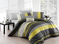 Качественный евро комплект постельного белья ТМ Nazenin Home, ранфорс Zigo-Sarı, фото 1