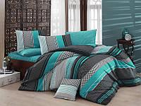 Качественный евро комплект постельного белья ТМ Nazenin Home, ранфорс Zigo-Turkuaz, фото 1