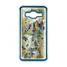 Чехол накладка силиконовый TPU Beckberg Aqua для Samsung J700 J7 Paris Blue