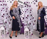 Темно-синее платье миди с цветочным принтом большой размер, фото 1
