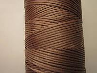 Нить вощёная плоская 0,8 мм коричневая (капучино) 125 метров