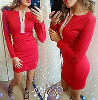 Платье женское новогоднее дайвинг 145 красное