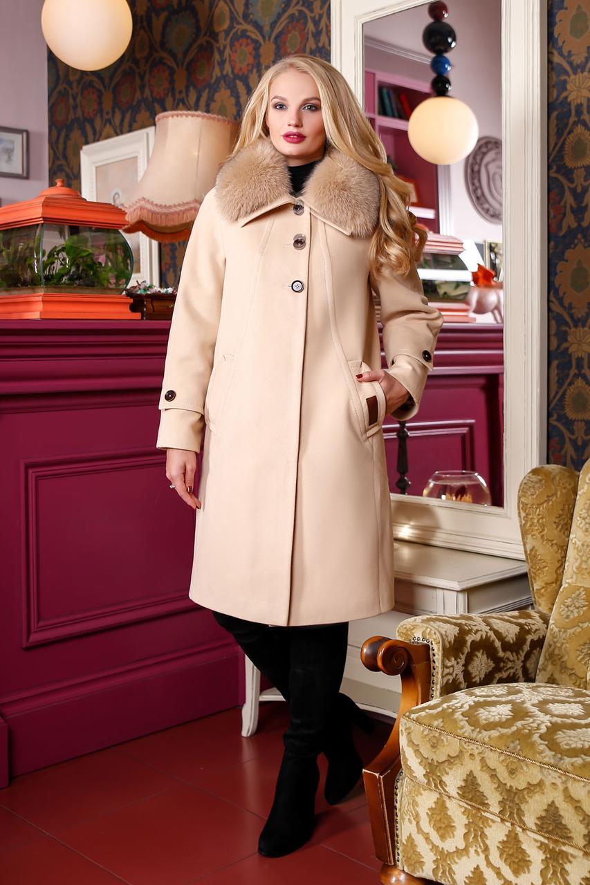 Купить Модное женское кашемировое пальто с натуральным мехом 48-58 ... 4e8e5f4d80198