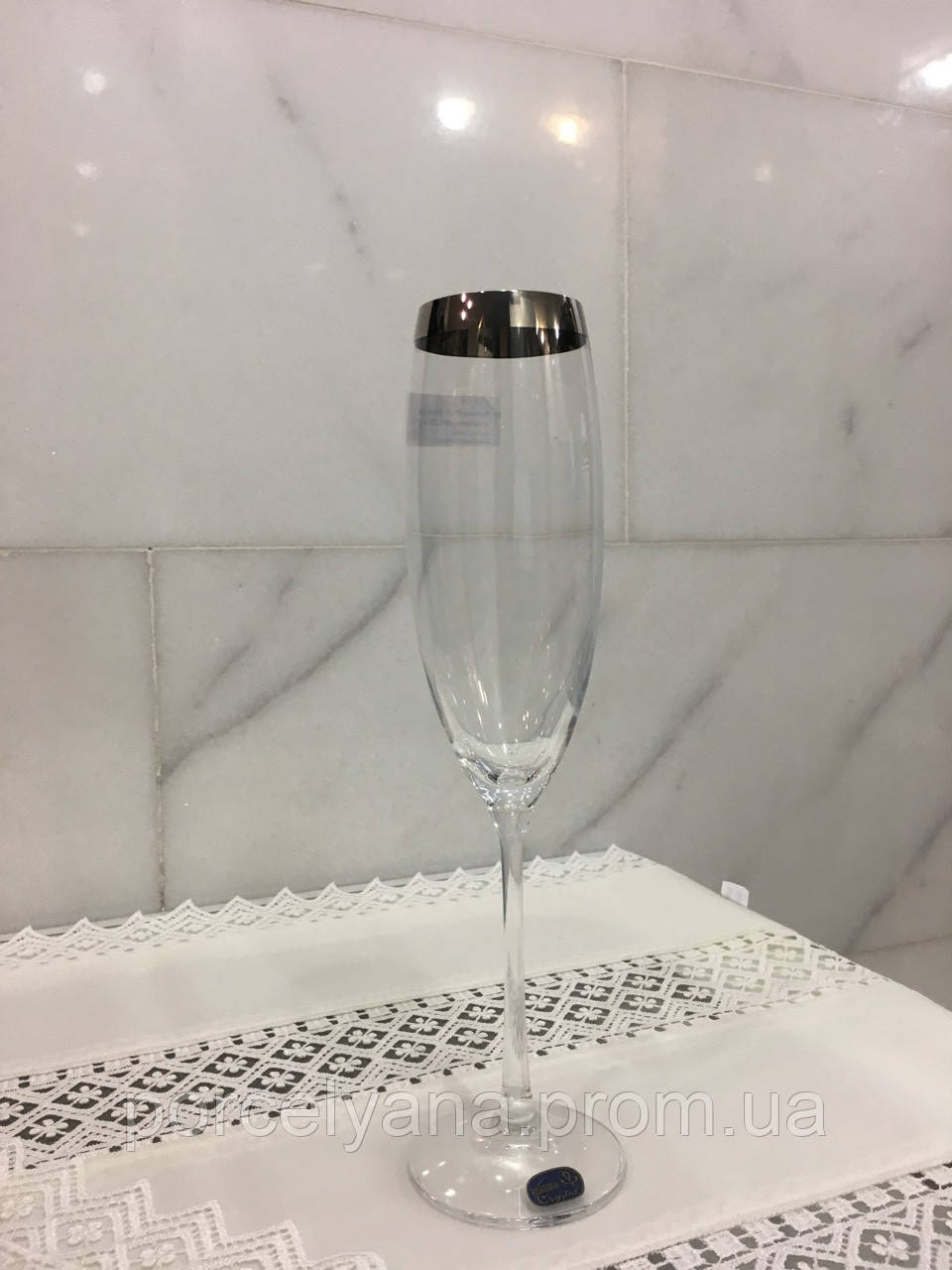 Бокалы шампанское 230мл 6шт Bohemia Viola платина