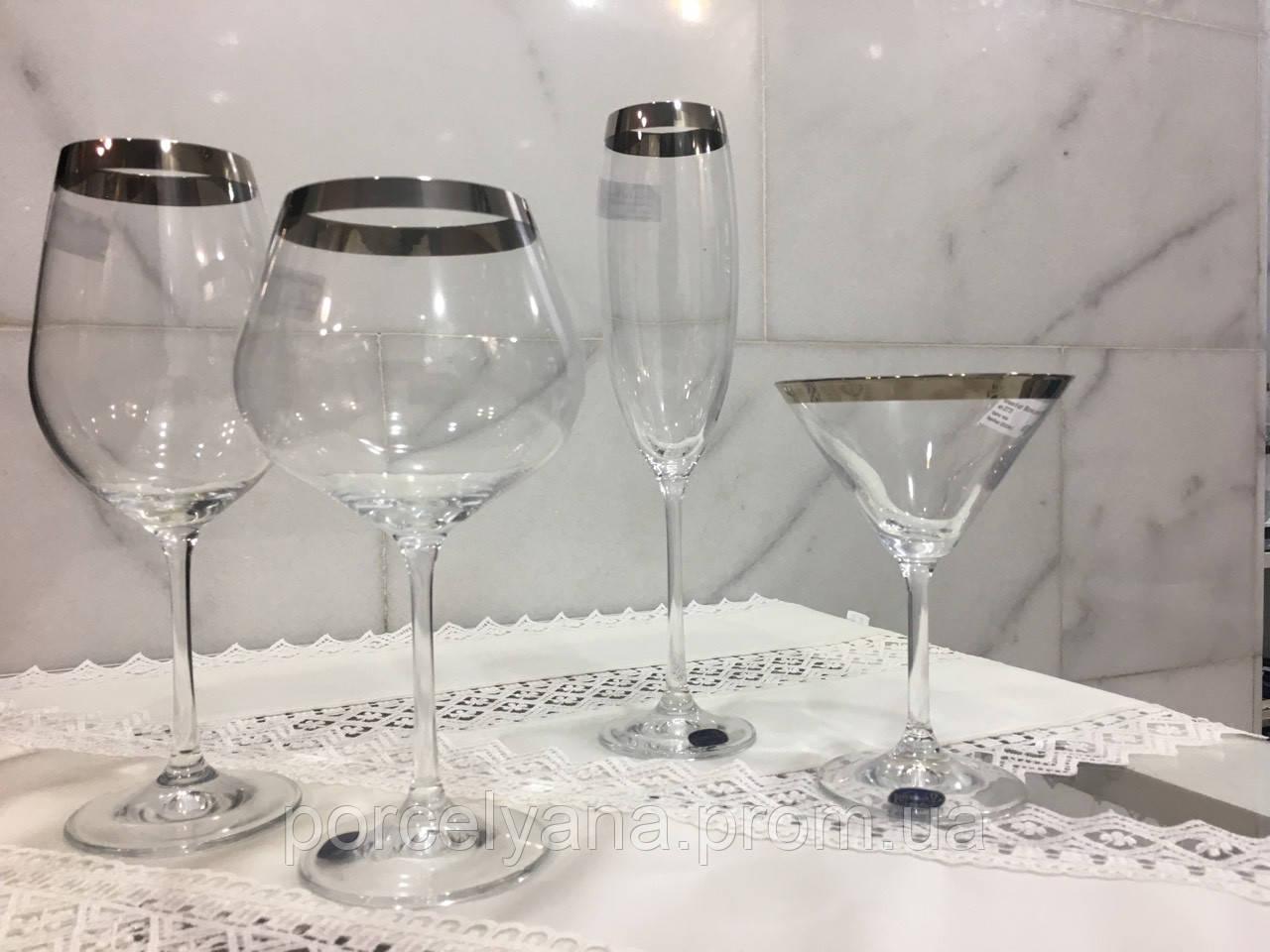 Бокалы для вина 6шт 450мл Bohemia Viola платина