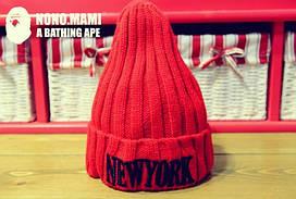 Подростковая шапка красная New York (окружность головы 54-60 см)