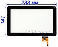 Сенсор, тачскрин для планшета Freelander PD 50, PD 60 черный (233*141 мм) 9 дюймов 12 pin