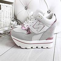Кроссовки на танкетке цвет: Серый+ Розовый, материал : обувной текстиль + экозамш