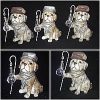 "Статуэтка ""Собака с фонариком"", фонарик светится, керамика, 17.5 см., 255/235 (цена за 1 шт. + 20 гр.)"