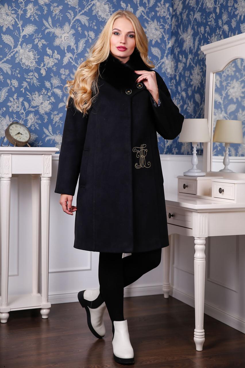 Яркое зимнее женское кашемировое пальто с натуральным мехом 44-56 размер a7af9517553fc