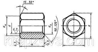 Схема габаритных размеров высокой гайки ГОСТ 15523-70