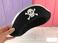Шляпа Треуголка пиратская шляпа серебро