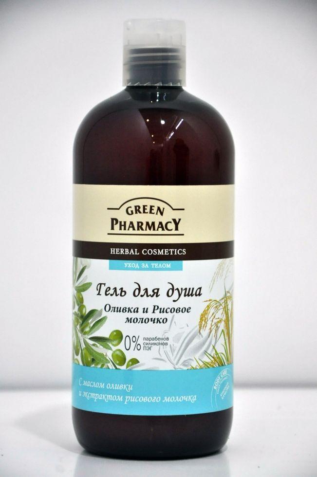Гель для душа Оливка и Рисовое молочко Зеленая Аптека 500мл.