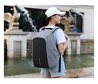Рюкзак антивор с USB зарядкой (серый)