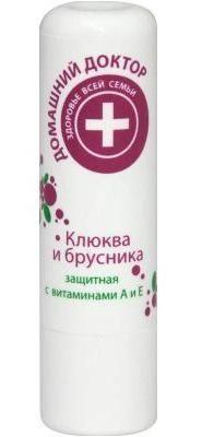Гигиеническая помада Клюква и брусника Домашний доктор 4,4гр.