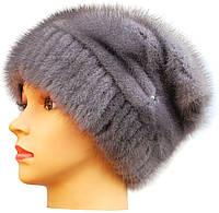 Норковая шапка женская,Бритни на трикотаже (серо-голубая)
