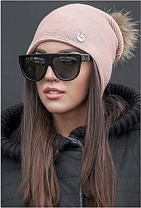 Зимняя шапка двойная вязка с меховым помпоном, женские зимние вязаные шапки оптом от производителя
