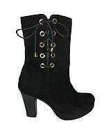 Женские полусапожки из натуральной замши весенние осенние модные молодежные черные Gina 4227