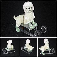 Новогодняя собачка на санках - керамическая статуэтка, 9х10 см., 135 гр.