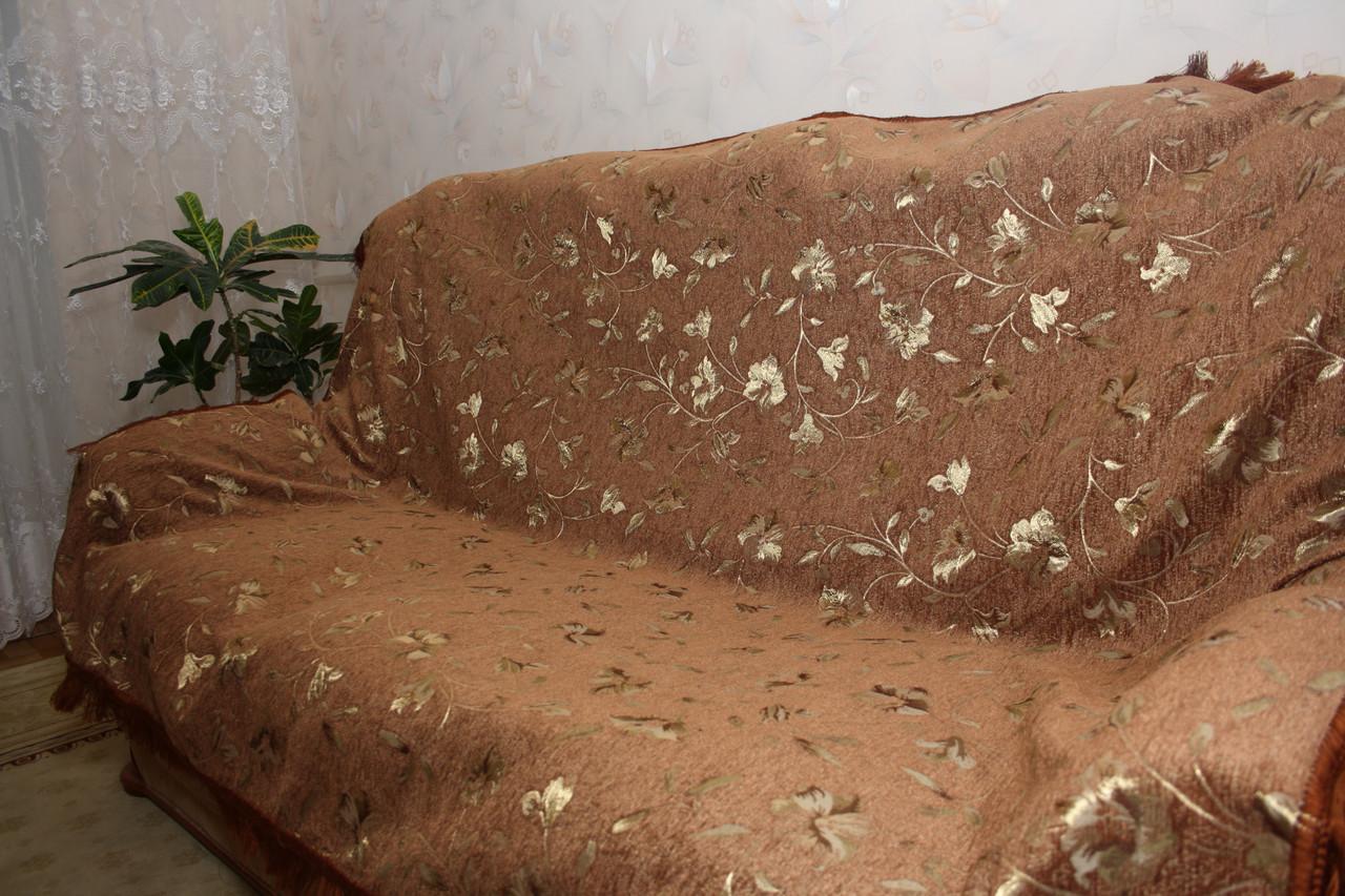 Глория коричневый комплекты гобеленовых покрывал на диван и кресла