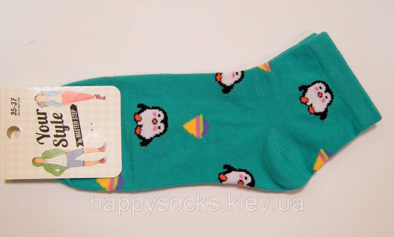 Носки с пингвинами заниженные женские