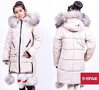 Детская зимняя куртка на девочку,на холлофайбере,натуральный мех-писец, р.28,30,32,34,36