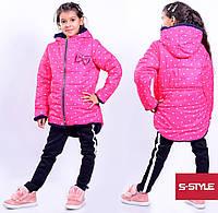 """Зимняя курточка в горох для девочек"""" Бантик """""""