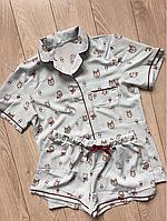 Женская пижама, Пижама рубашка с шортами, цвет голубой 028 совы