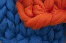 Шерсть для вязания пледов, прядения, валяния серия Кросс