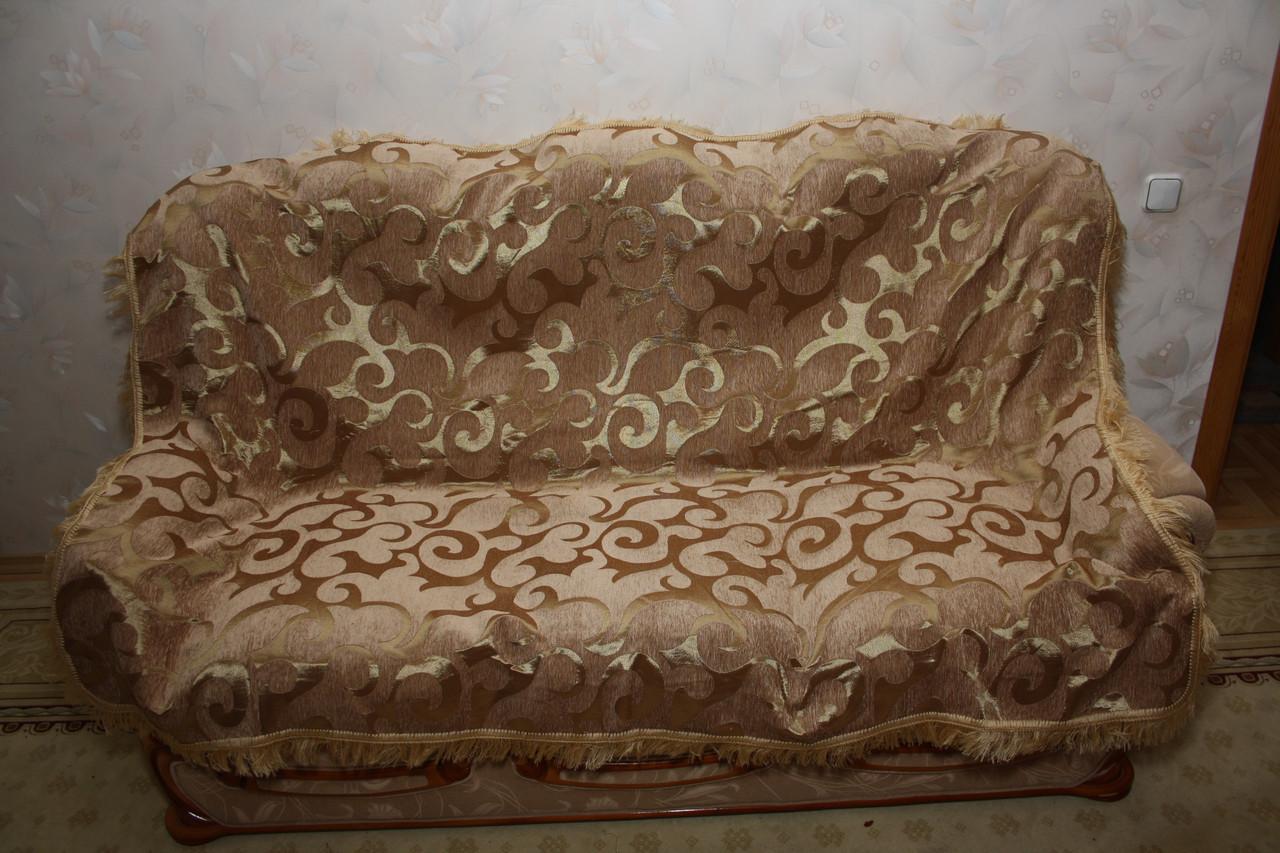 Вензель крупный комплект гобеленовых покрывал (Дивандеки) на диван и два кресла песочный