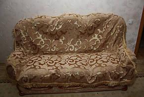 Вензель крупный комплект гобеленовых покрывал (Дивандеки) на диван и два кресла песочный, фото 2