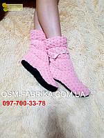 Плюшевые домашние сапожки розового цвета