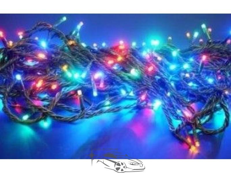Гирлянда светодиодная 200ламп (LED) черный провод. Цвета светодиодов: синий, белый, микс (разноцветный), жёлтый, красный.