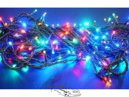Гирлянда светодиодная 200ламп (LED) черный провод. Цвета светодиодов: синий, белый, микс (разноцветный), жёлтый, красный., фото 2