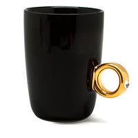 Кружка «Кольцо с бриллиантом», черная ко Дню Влюбленных, фото 1
