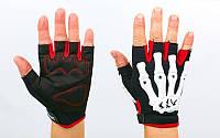 Вело-мото перчатки текстильные Скелет  (открытые пальцы, р-р M-XXL, красный)