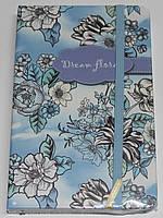 """Блокн. на резинке А6 № NA696026 """"Dream floral"""" 96л,клетка, цв. край (4вида)"""