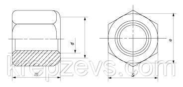 Схема габаритных размеров высокой гайки DIN 6330
