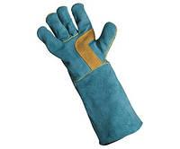 Перчатки спилковые, зелёные