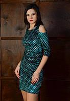 Платье. Платья. Женское платье. Велюровое платье в горошек по фигуре с открытыми плечиками, фото 1