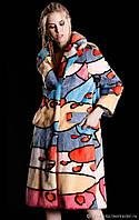 Модная шуба из норки с цветной инкрустацией, фото 1