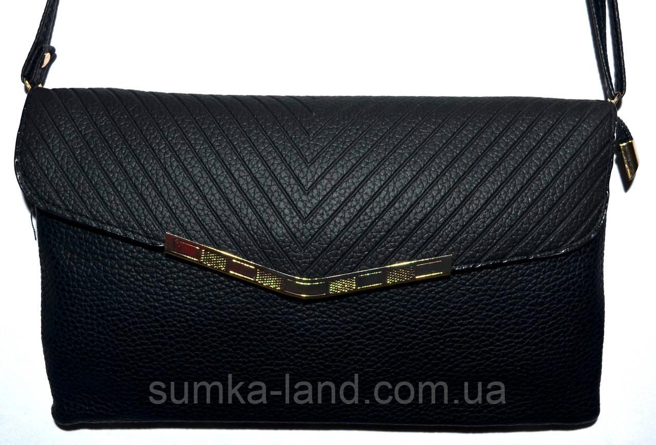 Женский классический черный клатч конверт  на один отдел 25*15