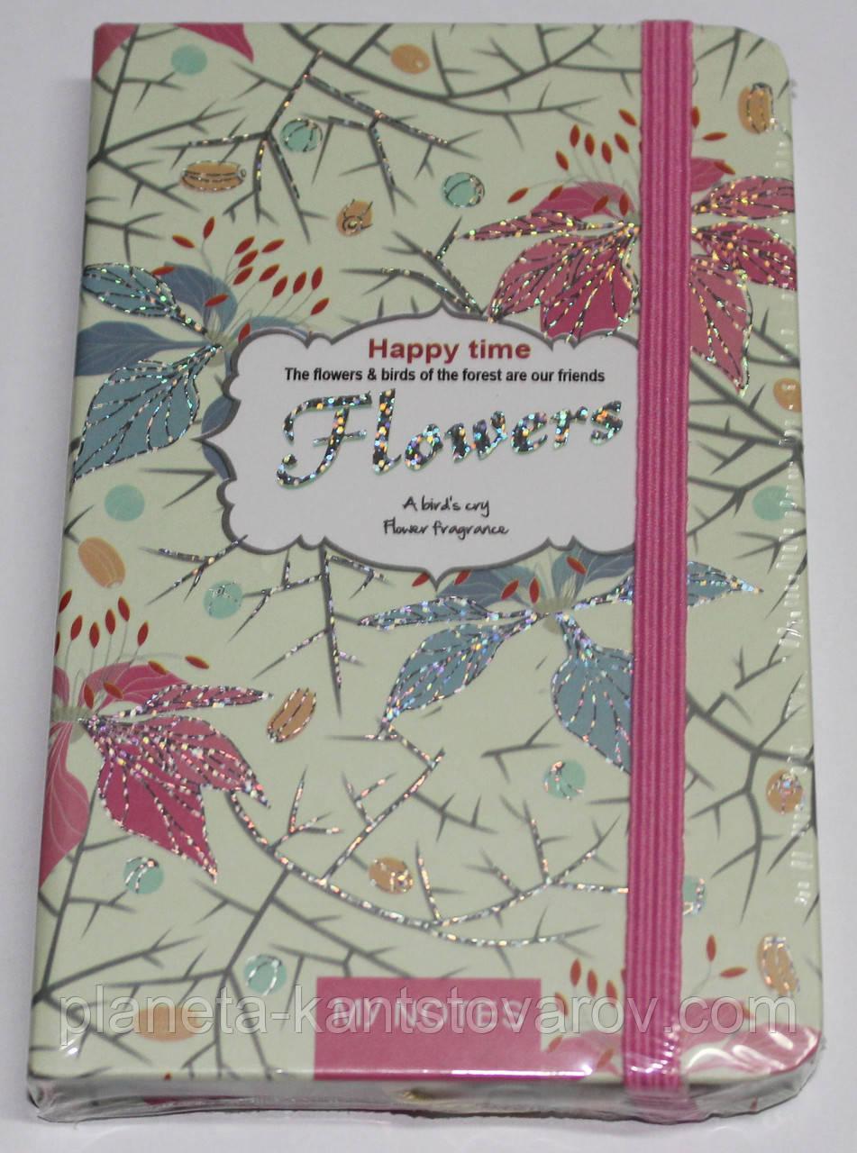 """Блокн. на резинке А6 № NA6T96032 """"Flowers"""" 96л,клетка, цв. край (5видов) с серебр."""