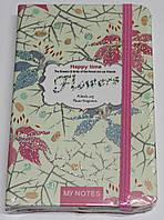 """Блокн. на резинке А6 № NA6T96032 """"Flowers"""" 96л,клетка, цв. край (5видов) с серебр., фото 1"""