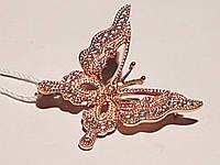 Золотая брошь Бабочка с фианитами. Артикул 360040, фото 1