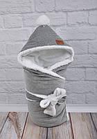 Велюровый конверт-одеяло, на махре, тёмно серый меланж