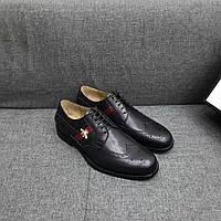 Мужские черные туфли броги, фото 1