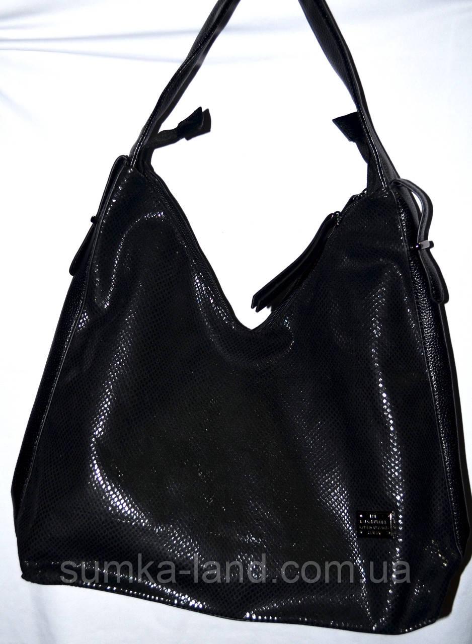Женская черная сумка мешок из лазерной кожи 35*35