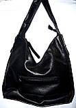 Женская черная сумка мешок из лазерной кожи 35*35, фото 2